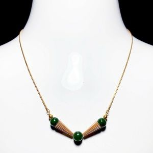 Vintage CaCo 1/20 12k Gold Green Jade Necklace